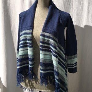Boho in Blues Girl's Knit Free-flow Cardigan 10/12